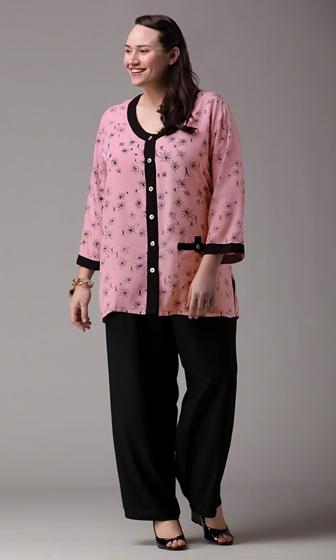 Sale Print 100% Rayon Long Sleeve Vanna Batik Blouse