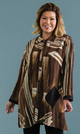Brynlee Long Sleeve Batik Plus Size Tunic 2X-8X