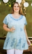 Embroidered Cotton Rayon Short Sleeve Round Neck Brin Tunic