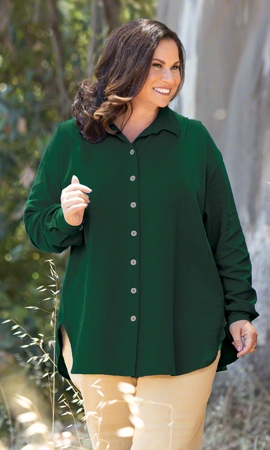 Cuff Long Sleeve Oversize Solid Button Up Shirt