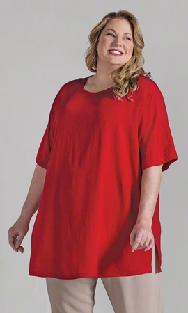 Sale Rayon Solid Short Sleeve Plus Size Shell 1X-8X