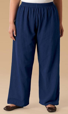 Wide Leg Crinkle Cotton Solid Pants