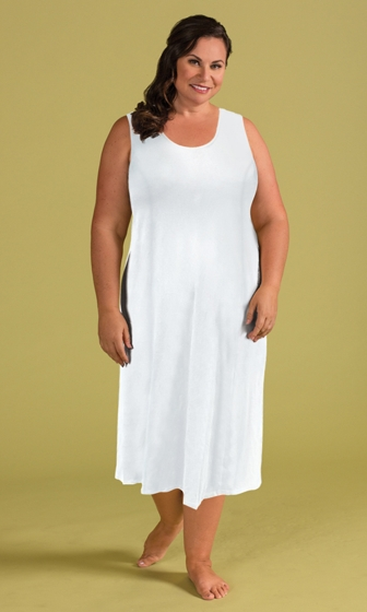 Jersey Cotton Knit Princess Seam Slip Dress