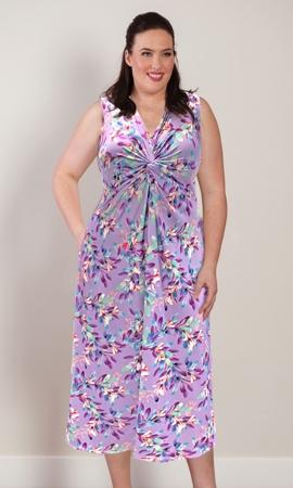 Printed Sleeveless Twist Front Diana Tank Dress