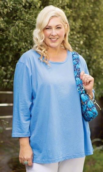 Sale Idalia 3/4 Sleeve U Neck Solid Cotton Knit Top