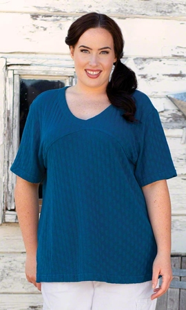 Chrissy Tencel Solid Short Sleeve Plus Size Top 2X-8X