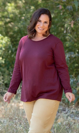 Sale Long Sleeve U Neck Solid Tee