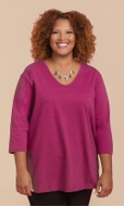 100% Cotton Jersey Knit 3/4 Sleeve V-Neck Solid Tee