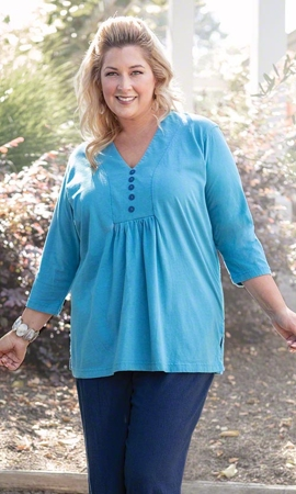 3/4 Sleeve Marie Solid Plus Size Top 1X-8X