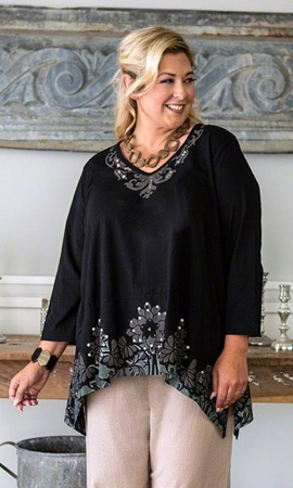 Gabrielle Beaded Long Sleeve Plus Size Top 2X-8X