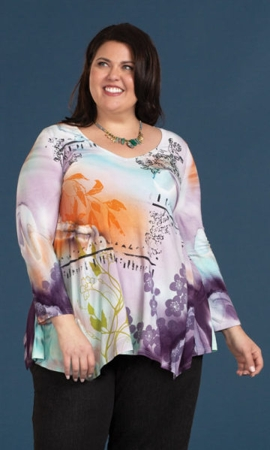 Sakura Long Sleeve Plus Size Top 1X-8X