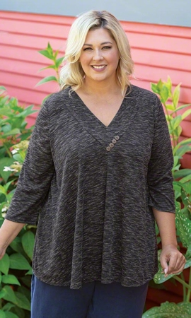Bianca Pleated Solid Long Sleeve Plus Size Top 2X-8X