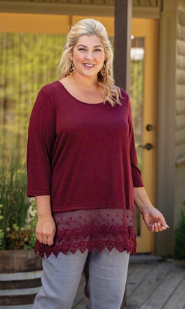 3/4 Sleeve Lace Trim Solid Plus Size Top 2X-8X