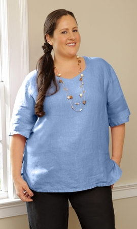 Linen Short Sleeve Solid Plus Size Top 1X-8X