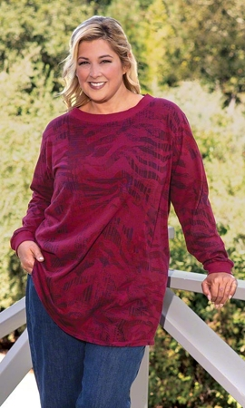 Guinevere Ribbed Collar Long Sleeve Cotton Knit Plus Size Top 2X-8X