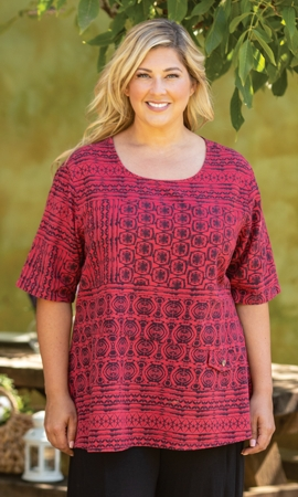 Tyler Flair Short Sleeve Plus Size Crinkle Cotton Top 2X-8X