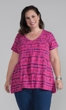 Print 100% Cotton Short Sleeve V-Neck Zharan Swing Top