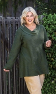 Slub French Terry Cowl Solid Long Sleeve Top
