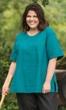 Sale Print 100% Cotton Short Sleeve V-Neck Peony Top