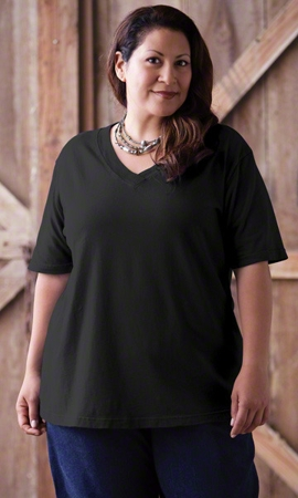 Short Sleeve V Neck Solid Plus Size Tee 1X-8X