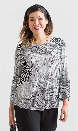 Sale 100% Rayon Print Jersey 3/4 Sleeve Round Neck Lara Top