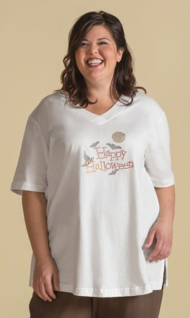 Print 100% Cotton Short Sleeve V-Neck Happy Halloween Tee