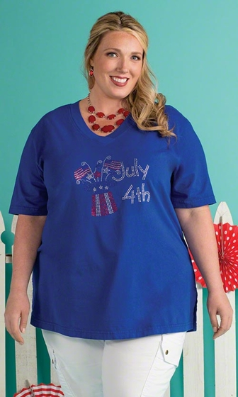 Sale Print 100% Cotton Short Sleeve V-Neck 4Th Of July Tee