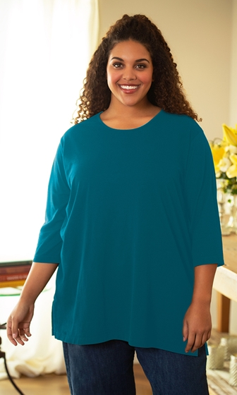 Sale 100% Cotton Jersey Knit 3/4 Sleeve Round Neck Solid Tee