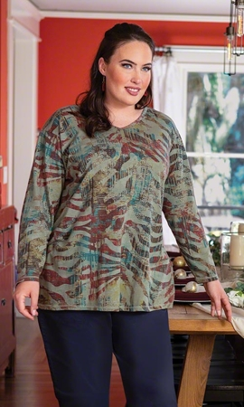 Guinevere V Neck Long Sleeve Cotton Knit Plus Size Tee 2X-8X