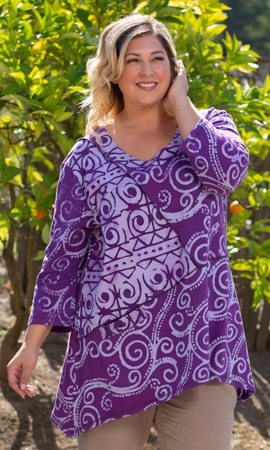 100% Cotton Round Neck 3/4 Sleeve Caiden Tunic