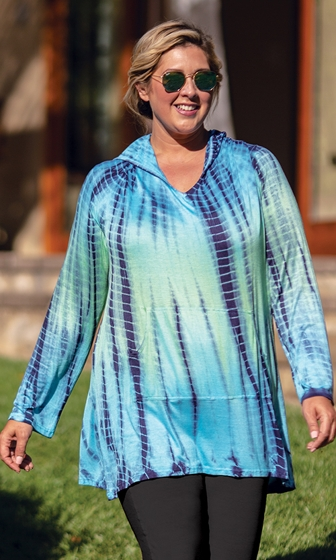 Hooded Cotton Rayon Long Sleeve V-Neck Cala Tunic