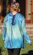 Hooded Cotton Rayon Long Sleeve V-Neck Cala Tunic