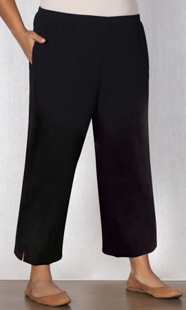 Black Linen Pull On Wide Leg Plus Size Flood Pants