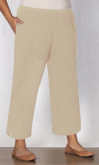 Linen Pull On Wide Leg Flood Pants