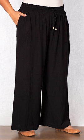 Wide Leg Drawstring Linen Pants