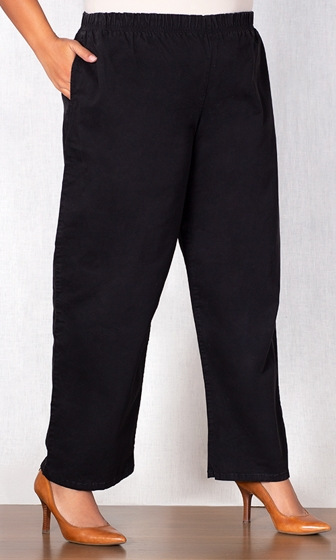 Wide Leg Stretch Cotton Twill Pants