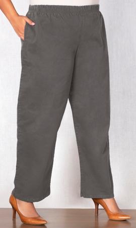 Wide Leg Stretch Cotton Twill Pants