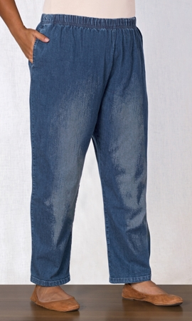 Wide Leg Premium Wash Cotton Denim Jeans