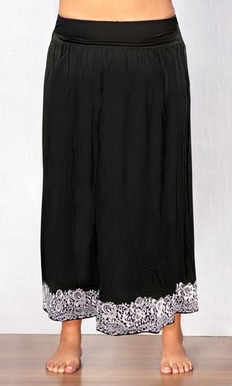 White Embroidered Black Maxi Skirt