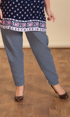 Print 100% Cotton Tailored Crinkle Cotton Pants