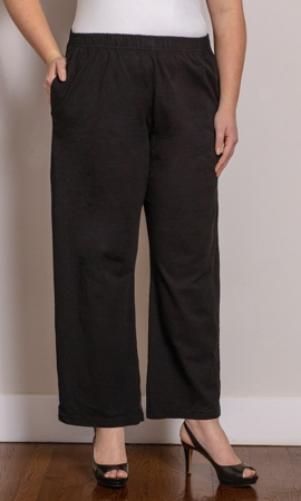 Wide Leg Cotton Knit Solid Pants