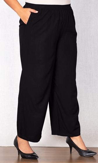 Sale Essential Wide Leg Rayon Solid Pants