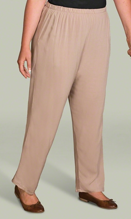 Relaxed Rayon Solid Plus Size Pants 1X-8X