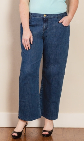 Five Pocket Wide Leg Solid Plus Size Jeans 0X-8X