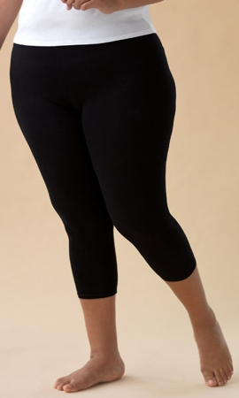 95% Cotton Jersey Knit Solid Capri Leggings