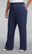 Wide Leg Stretch Twill Solid Pants