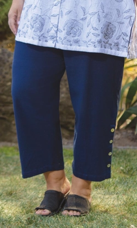 Button Detail Flood Solid Crinkle Cotton Plus Size Pants 2X-8X