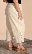 Button Detail Flood Solid Crinkle Cotton Pants