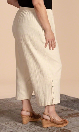 Sale Button Detail Flood Solid Crinkle Cotton Pants