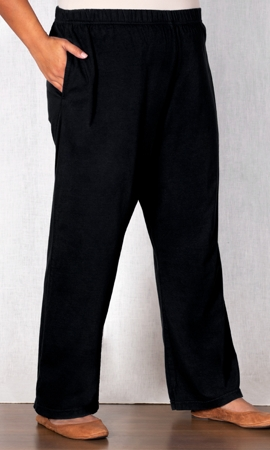 100% Cotton Knit Wide Leg Solid Pants